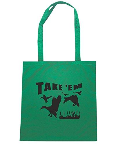 T-Shirtshock - Bolsa para la compra FUN1289 duck hunting decal sticker 37 52231 Verde