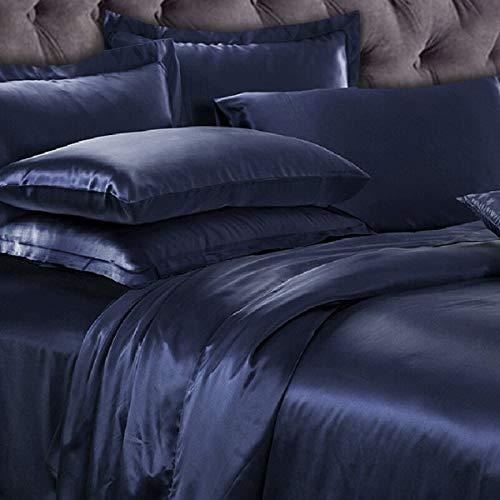 Texas Bedding Company USA Based 100% Pure Silk Satin Sheet Set 4pcs, Silk Fitted Sheet 15'' Deep Pocket,Silk Flat Sheet & Pillowcases Set King, Navy Blue