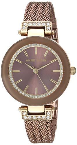 Anne Klein Women's AK/1907BNTT Swarovski Crystal Accented Gold-Tone and Light Brown Mesh Bracelet Watch