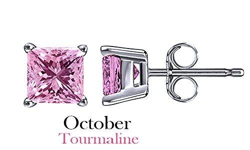 Tourmaline White Gold Stud (10k White Gold 4mm Princess Cut Simulated Light Pink Tourmaline Stud Earrings)