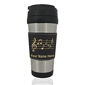 Travel Mug - Music Staff - Personalized Engraving Included (Black)