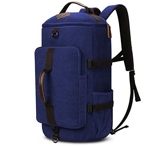 Backpacks for Men, Yousu Men's Canvas Backpack Vintage Large Capacity Duffel Bookbag Outdoor Traveling Multi Functional Rucksack Daypack 3-In-1 Blue