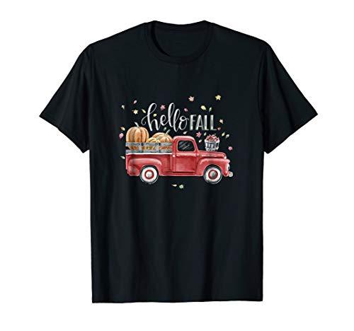 Hello Fall Vintage Pickup Pumpkin Patch Leaves T-Shirt -