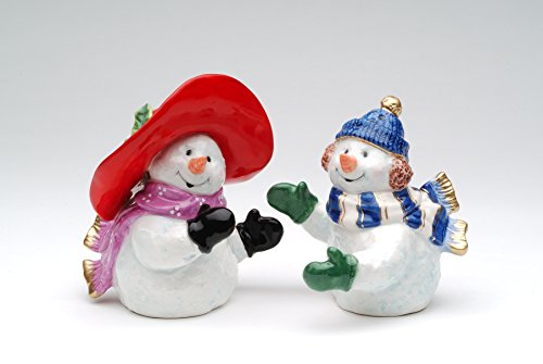 (Cosmos Gifts 56515 Fine Ceramic Hand Painted Colorful Snowman Couple Wearing Scarf Salt and Pepper Shakers Set, 4-1/8