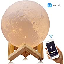 """Smart WiFi 3D Moon Lamp 5.9""""/15cm with Wooden Holder, 3D Printing Moon Light Night Lamp, APP Remote Control and Voice Control Compatible with Alexa, Google Home Assistant and IFTTT - USB recharge"""