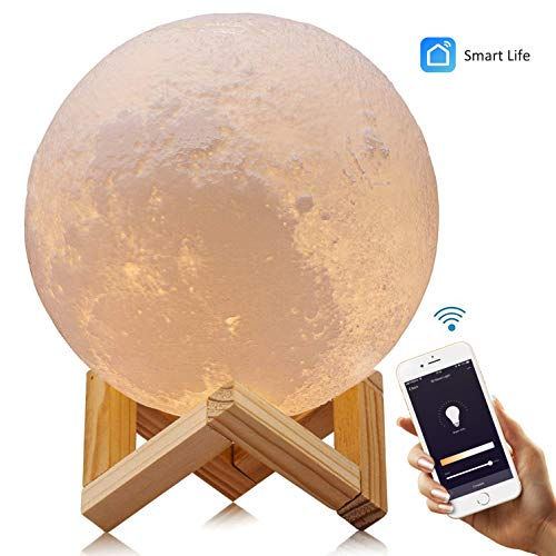 "Smart WiFi 3D Moon Lamp 5.9""/15cm with Wooden Holder, 3D Printing Moon Light Night Lamp, APP Remote Control and Voice Control Compatible with Alexa, Google Home Assistant and IFTTT - USB recharge"