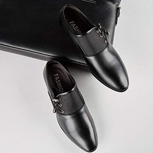 Cuero Negro QinMM Vestir Zapatos Oxford Cordones Hombre Boda Calzado Negocios 7qUBxag