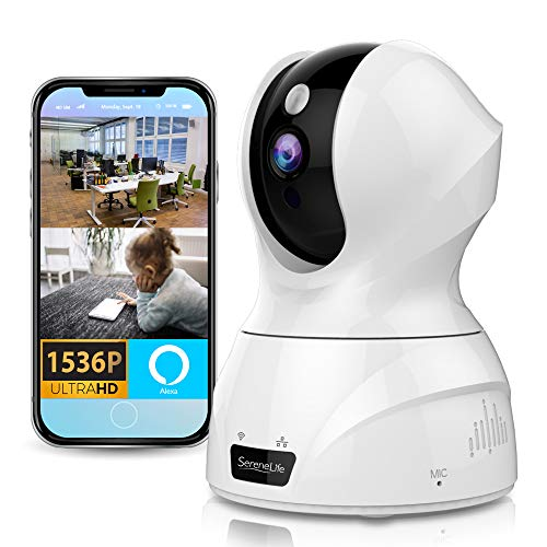 Alexa Compatible Indoor IP Camera - Auto PTZ Smart Tracking - Ultra HD 2k 1536p Smart Security Home Monitoring w/ Motion Detect, Night Vision Video, Wireless Pet Baby Monitor - SereneLife IPCAMHD50