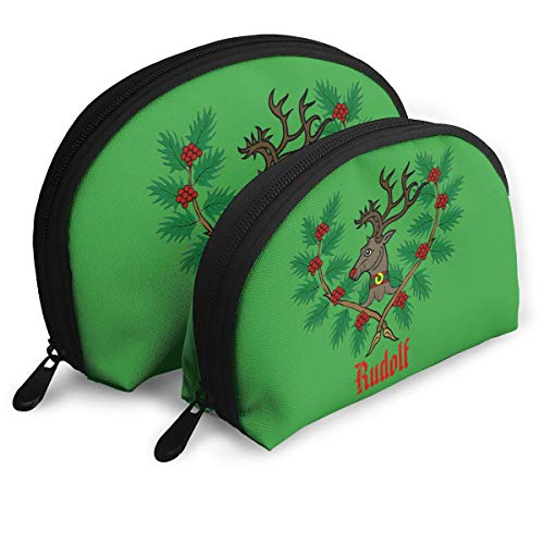 Red-Nosed Reindeer Holly Christmas Womens Holder Shell Cosmetic Pouch Storage Bag Toiletry Organizer