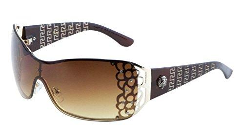 Kleo Greek Key Lion Head Medallion Oversized Shield Sunglasses w/ Rhinestones (Brown & Gold Frame, - Medusa Head Sunglasses