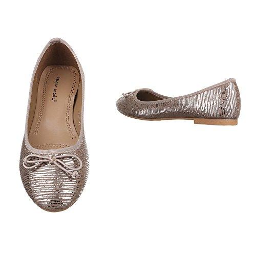 Ital-Design Ballerinas Damen Schuhe Geschlossen Blockabsatz Moderne Ballerinas Gold