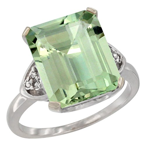 (14K White Gold Diamond Natural Green Amethyst Ring Octagon 12x10 mm, size 5.5)