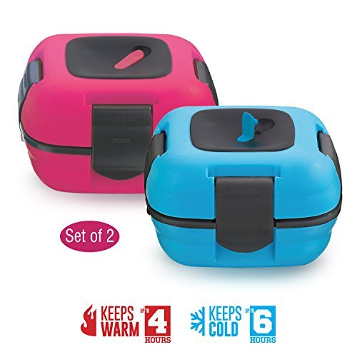 Lunch Box ~ Pinnacle Insulated Leak Proof Lunch Box for Adults and Kids - Thermal Lunch Container With NEW Heat Release Valve ~Set of 2~ Blue/Pink by Pinnacle Thermoware