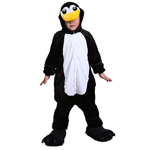 Vimans Kids Flannel Pajamas Cartoon Penguin Onesie Homewear Costume, (Penguin Flannel Pajamas)