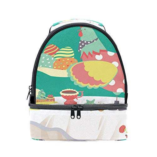 FOLPPLY Happy Easter Rooster Lunch Bag Insulated Cooler Tote Box with Adjustable Shoulder Strap for Pincnic School