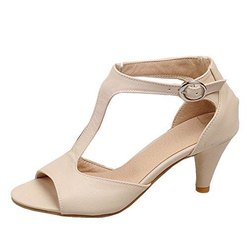TAOFFEN Mujer Moda T-Strap Sandalias Tacon Embudo Tacon Medio Peep Toe Verano Zapatos Con Hebilla 517 Albaricoque