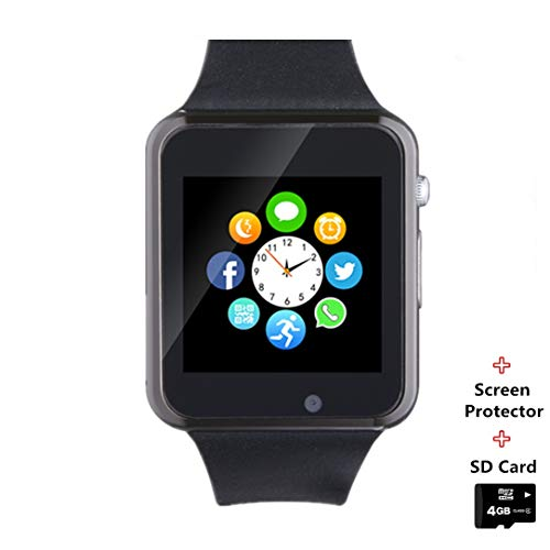 Smartwatch Smart Watch Phone with SD Card Camera Pedometer Text Call Notification SIM Card Slot Music Player Compatible for Android SamsungHuawei LG and IPhone (Partial Functions) for Men Women Kids