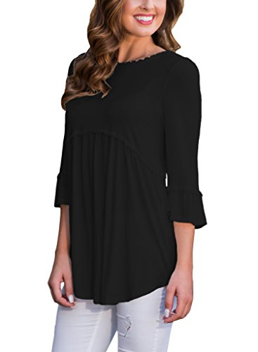 HOTAPEI Women's 3 4 Sleeve T Shirts Casual Loose Flowy Tops and Blouses