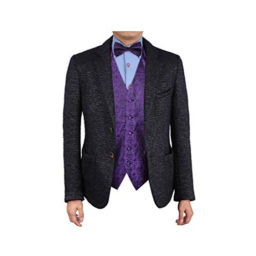 (Epoint EGE1B05B-5XL Dark Violet Black Patterns Microfiber Waistcoat and Pre-tied Bow Tie Collection Series)