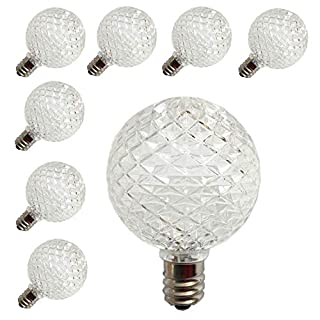 [ 25 Pack ] LED G40 Globe Replacement Bulbs for Patio Outdoor String Lights, C9/E17 Candelabra Base Sockets, 0.5 Watt Warm White G40 Replacement Plastic Bulbs, Full Waterproof & Break Resistant