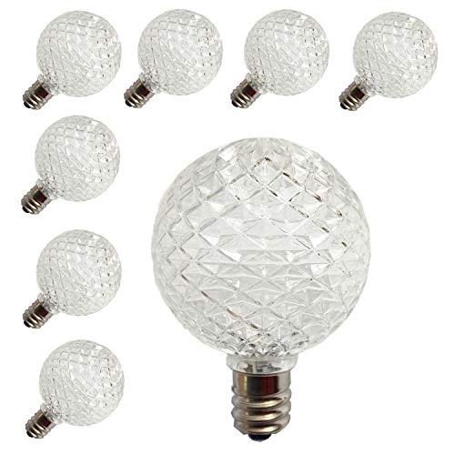 (Pack of 25 G40 Globe LED Replacement Bulbs for Patio Outdoor String Lights, C7/E12 Candelabra Base Sockets, 0.5 Watt Warm White G40 Replacement Plastic Bulbs, Full Waterproof & Break Resistant)