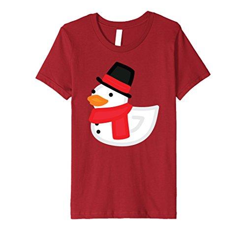 Rubber Duck Costume Ideas (Kids Christmas Duck Shirt - Funny Rubber Duckling Snowman T-Shirt 10 Cranberry)