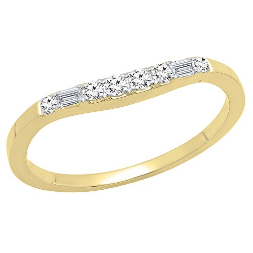 DazzlingRock Collection 0.15 Carat (ctw) 14K Yellow Gold Baguette & Round Diamond Ladies Wedding Band Guard Ring (Size 7) 0.15 Ct Baguette Diamond