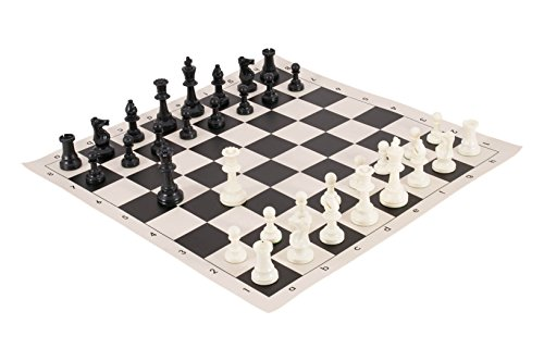 (The House of Staunton Tournament Chess Pieces and Chess Board Combo - Triple Weighted - by US Chess Federation (Black))