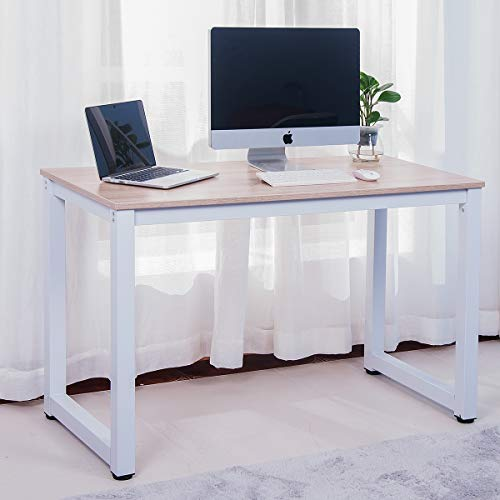 Merax Modern Simple Design Computer Desk Table Workstation for Home Office White and Oak