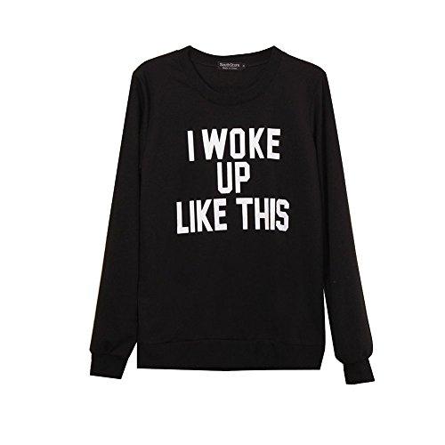 MAX Sonne Women Letters Print Sweatshirt Sport Casual Pullover Fleece Hoodies (XL)