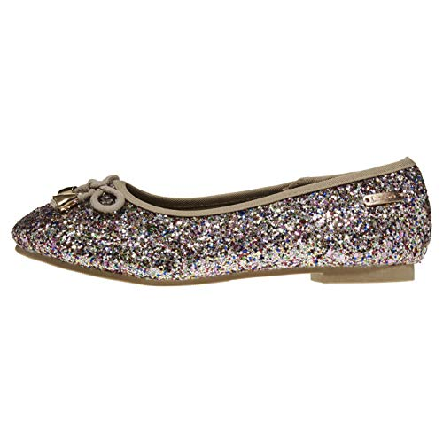 bebe Girls Flats Size 11 Round Toe Chunky Glitter with Bow and Metallic Logo Hardware Slip-On Shoes Flexible PU Leather Gold Multicoloured (Flats Metallic Leather Ballet)
