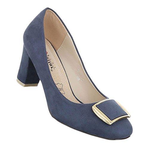 Damen Pumps Schuhe Elegant High Heels Bequeme Blau