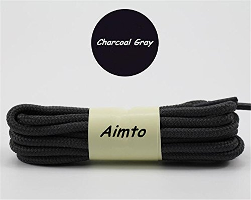 Round Shoelaces for Sneakers, Boots, and Shoes in 20 Colors-35inch by Aimto-Charcoal Gray-3 Pairs (Round Colour)