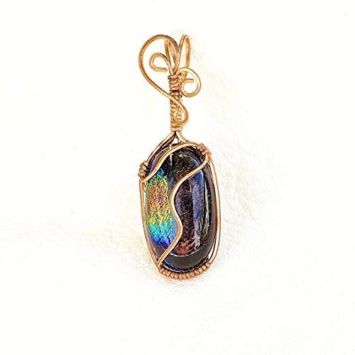 Copper wire wrapped dichroic glass pendant - small wire wrap