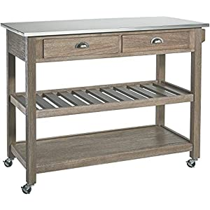 Ball & Cast Solano 2 Drawer Wire-Brush Rubberwood Kitchen Cart with Stainless Steel Top - Grey