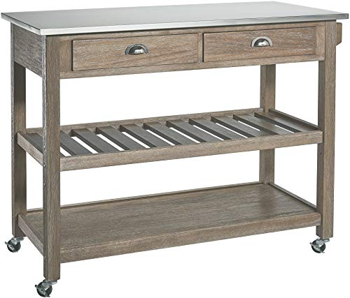Ball & Cast Solano 2Drawer Wire-Brush Rubberwood Kitchen Cart with Stainless-Steel Top, Grey ()