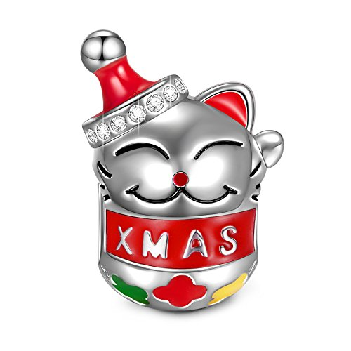 NinaQueen Christmas Charm Gifts Lucky Cat 925 Sterling Silver Holiday Charms Santa Claus Beads fit Pandöra Bracelets Necklace Pendant Birthday Gifts for Mothers Day ()