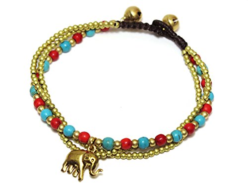 Women's Vibrant Gypsy Costumes (Elephant Brass Charm Blue Howlite Red Coral Stone Beaded Bracelet for Women)