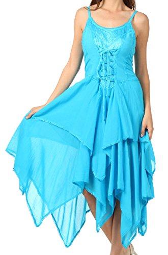 Sakkas 9031 Corset Style Bodice Jaquard Lightweight Handkerchief Hem Dress - Turquoise - One Size ()