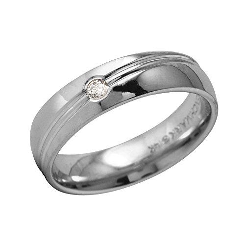 0.1 Carat Natural Diamond 14K White Gold Wedding Band for Men Size 9.5 - 0.1 Ct Diamond Bezel