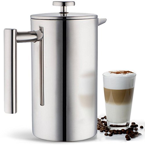 Blümwares French Press Coffee Maker Stainless Steel, Coffee Filter Screen Included - 34 Ounce (1 Liter)