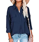 GOSOPIN Women V Neck Vertical Stripes Shirt Loose Button Down Blouse Tops