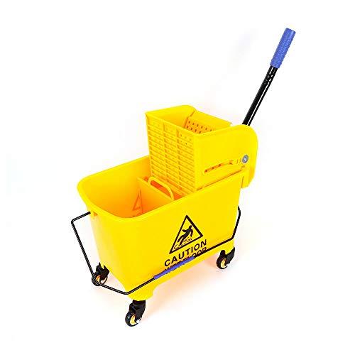 Poetsemmer met pers, 20 liter, vuilnisemmer, wisserwagen met pers, gele reinigingswagen voor trapreiniging…