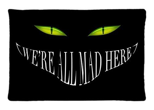 Alice in Wonderland Smile Cheshire Cat Black Mad Eyes dark halloween Custom Zippered Pillowcase Pillow Cases Cover Home Decorative 20 * 30 Inch (One (Dark Side Alice In Wonderland)
