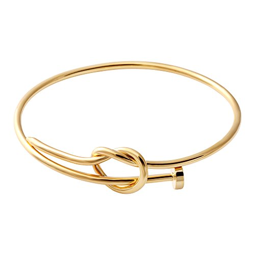 SENFAI Twist Knot Nail Bangle Heart Knot Bracelet Stack Bangle Cuff (Gold)