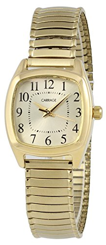 Carriage by Timex Women's Analog Gold-Tone Watch Steel Expansion Bracelet 3C75300 Case Gold Tone Expansion Bracelet
