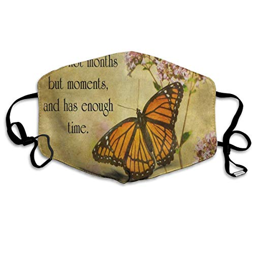 Custom Mouth Mask Anti-Dust Vintage Butterfly Floral Quote Face Mask Breathable Mask With Adjustable Ear-loop Windproof And -