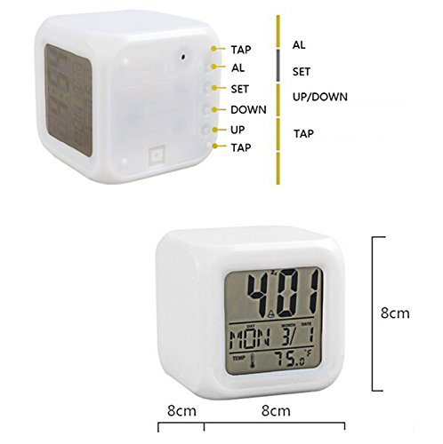 Zinnor Digital Alarm Thermometer Night Glowing Cube 7 Colors Clock Change LCD LED Changing Digital Alarm with Snooze,Music and Large Display-White