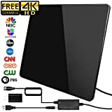HDTV Antenna, Newest Version Indoor HD Digital TV Antenna,150 Miles Range Antenna with Amplifier Signal Booster Support Local Free 1080P 4K & All Television, 17ft Coax Cable/USB Power Adapter (Black)