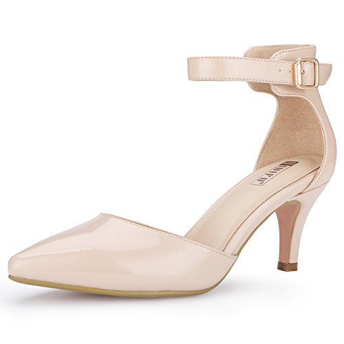 IDIFU Women's IN3 D'Orsay Pointed Toe Ankle Strap Mid Heel Pump (Nude Patent, 9 B(M) US)